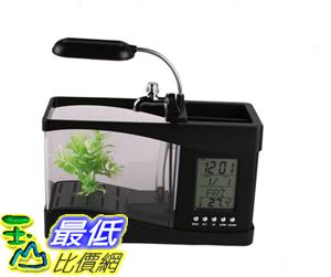 _% [可以用USB或220V 插電] 全新 USB 迷你 桌上型 魚缸 水族箱 LED檯燈 筆筒 萬年曆 溫度計(202308)_a $779