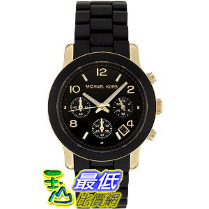 [美國直購 ShopUSA] Michael 手錶 Kors Women's MK5191 Chronograph Black Rubber Coated Gold-Tone Stainless Steel Watch  $7699