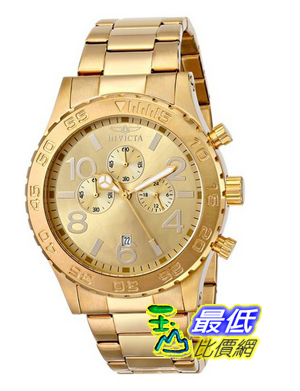 [103 美國直購] Invicta 手錶 Men's 1270 Specialty Chronograph Gold Dial 18k Gold Ion-Plated Stainless Steel Watch