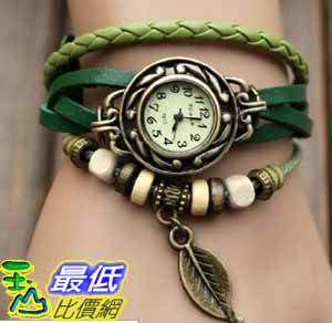 [美國直購 USAShop] Green Quartz Fashion Weave Wrap Around Leather Bracelet Lady Woman Wrist Watch $498