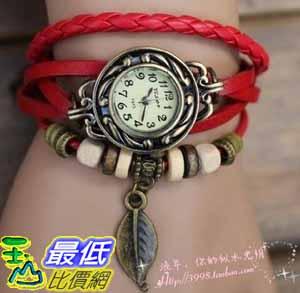 [美國直購 USAShop] Red Color Quartz Fashion Weave Wrap Around Leather Bracelet Lady Woman Wrist Watch $547