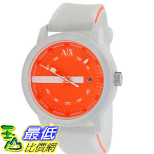 [美國直購 ShopUSA] Armani Exchange 手錶 Men's AX1242 White Silicone Quartz Watch with Orange Dial #1681895121 _mr