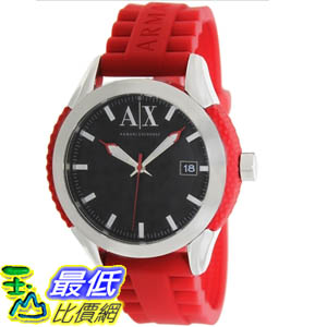 [美國直購 ShopUSA] Armani Exchange 手錶 Men's AX1227 Red Silicone Quartz Watch with Black Dial #1681895117 _mr