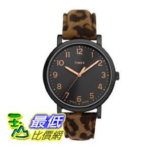 [103美國直購] Timex 手錶 Womens Modern Originals Easy Reader Black Dial Resin Case Leopard Style Watch T2N711