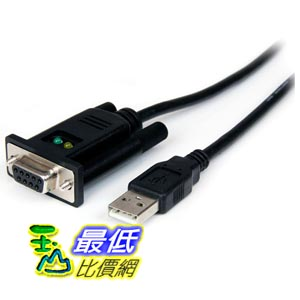 [103美國直購] StarTech.com 適配器電纜 1 Port USB to Null Modem RS232 DB9 Serial DCE Adapter Cable with FTDI, Black (ICUSB232FTN )