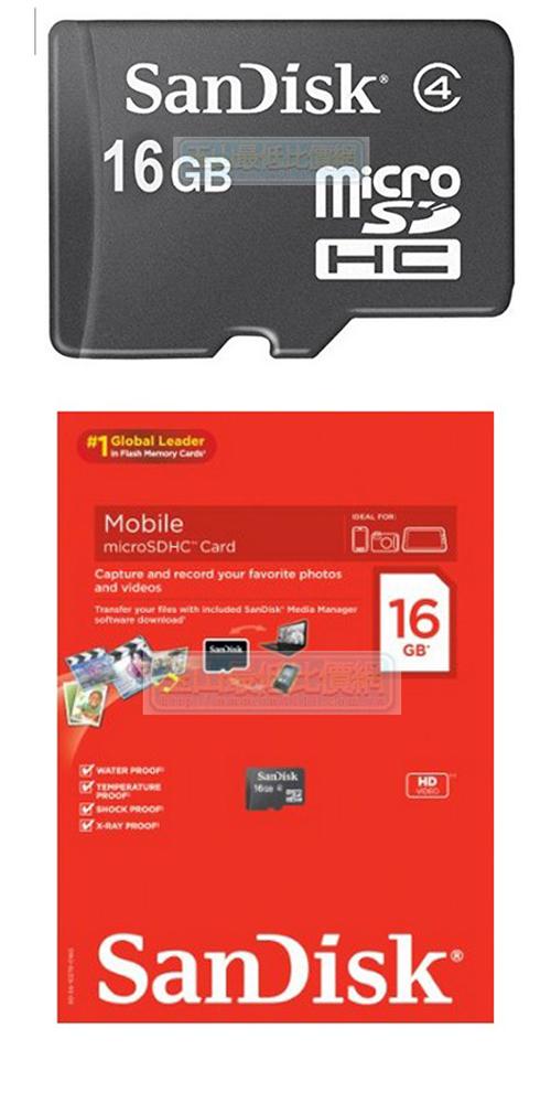 [104美國直購]  內存卡 SanDisk 16GB Class 4 Micro SDHC Memory SDSDQ-016G-AFFP