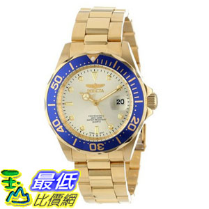 [104美國直購] 男士手錶 Invicta Men's 14124 Pro Diver Gold Dial 18k Gold Ion-Plated Stainless Steel Watch