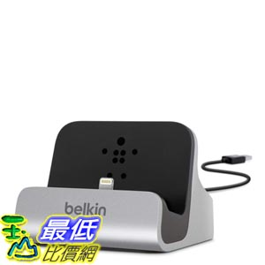 [103美國直購] Belkin 銀色款 充電 傳輸 底座 Charge and Sync Dock with Lightning Cable Connector iPhone5S 6 /6s Plus 專用