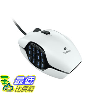 [103美國直購] Logitech 羅技白色 G600 MMO 遊戲滑鼠 20個按鍵 發光 設定記憶 雷射 電競 G-Shift 巨集 $2499