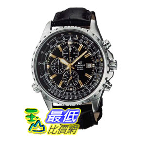 [104美國直購] Casio Men's 男士手錶 Stainless Steel Edifice Flight Two Tone Black Dial Tachymeter Strap
