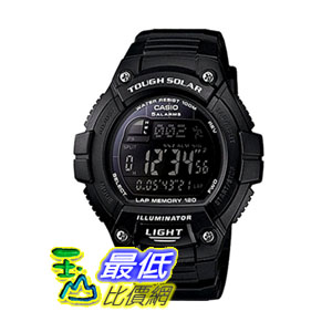 [104美國直購] Casio Men's W-S220-1BVCF 男士手錶 Tough Solar Running Watch with Black Resin Band