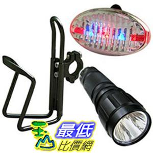 [玉山最低比價網]全新 3W 專業 自行車 單車 前後警示燈 前置杯架超值組 (W16033)     $489