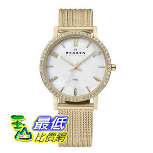 [美國直購 ShopUSA] Skagen 手錶 White Dial Crystal Bezel Gold-tone Ladies Watch 922SGGG $3158