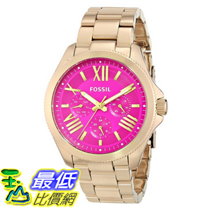 [104美國直購] Fossil AM4539 女士手錶 Cecile Multifunction Stainless Steel Watch - Gold-Tone with Pink Dial $4998