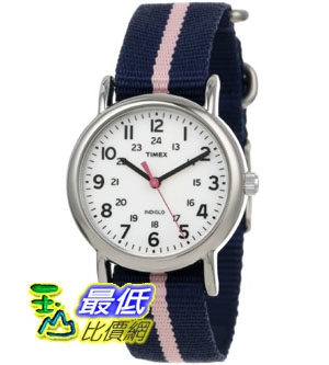 [美國直購禮品暢銷排行榜] Timex 中性男女通用錶  T2P0749J Weekender Blue Pink Stripe Slip Thru Nylon Strap Watch