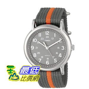 [美國直購 ShopUSA] Timex 中性男女通用錶  Unisex T2N649 Weekender Watch with Gray and Orange Nylon Strap