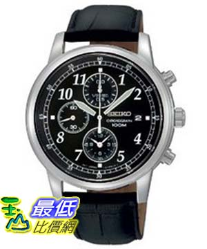 [美國直購 ShopUSA] Seiko 手錶 Men's SNDC33 Classic Black Leather Black Chronograph Dial Watch $4510