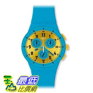 [美國直購 ShopUSA] Swatch 手錶 Men's Originals SUSS400 Blue Silicone Swiss Quartz Watch with Yellow Dial $4189