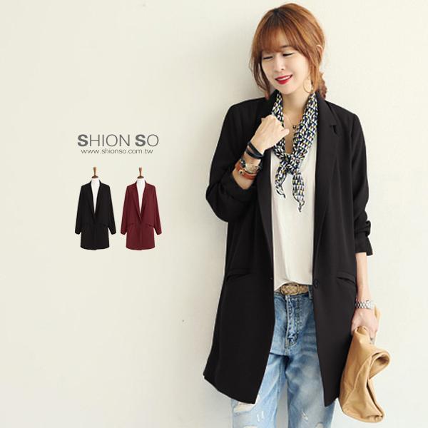 享瘦衣舍中大尺碼【B3072】韓風時尚長版西裝外套
