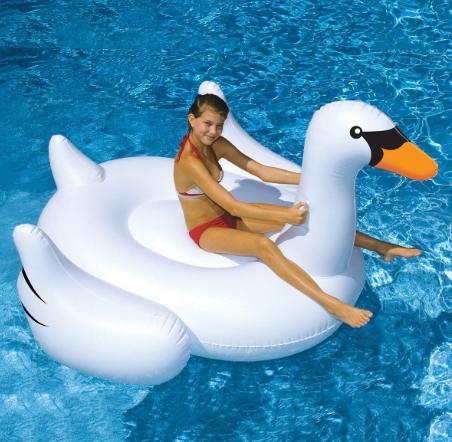 泳池派對水上充氣白色大天鵝造型浮床 泳圈