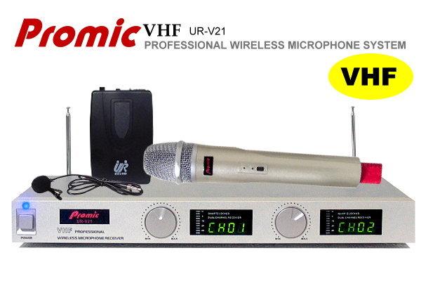 Promic超高頻無線麥克風UR-V21【領夾+手握】教學.會議專用/雙頻鎖碼