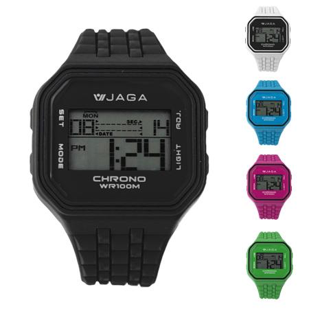 JAGA捷卡電子錶 方型清晰大數字設計運動手錶 特殊錶帶造型 防水100米 柒彩年代【NE1501】單支售價