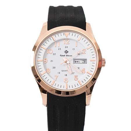 手錶 玫瑰金錶殼刻度數字白面矽膠腕錶 搭戴SEIKO精工VX43石英機芯 柒彩年代【NE1793】30米防水