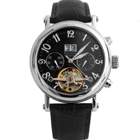 范倫鐵諾Valentino自動上鍊機械腕錶 鏤空擺輪三眼手錶 原廠公司貨 柒彩年代 【NE1204】