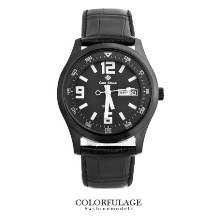 型男軍用手錶 大數字真皮腕錶 搭載SEIKO精工VX43石英機芯 柒彩年代【NE1239】單支