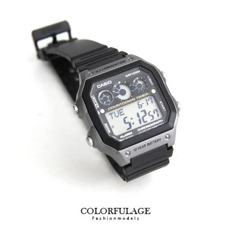 CASIO卡西歐 經典環保風格 十年電力黑灰電子錶盤手錶 計時碼錶 100M防水 柒彩年代【NE1284】原廠貨