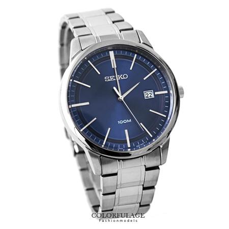 SEIKO 簡約線條設計深藍不銹鋼手錶 藍寶石水晶鏡片 防水100米腕錶 柒彩年代【NE1351】附贈禮盒+提袋