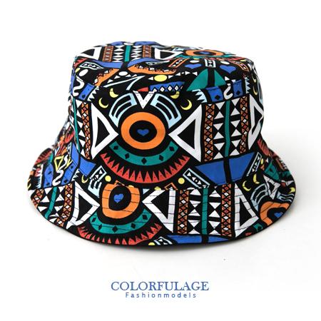 創意塗鴉風潮流漁夫帽 遮陽帽 紳士帽 軟鐵絲滾邊可折 貼心雙面設計 柒彩年代【NH167】透氣棉料