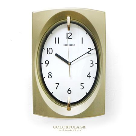 SEIKO精工時鐘 古典優雅 香檳金色 拱弧造型掛鐘 時尚有型 柒彩年代【NE1377】原廠公司貨