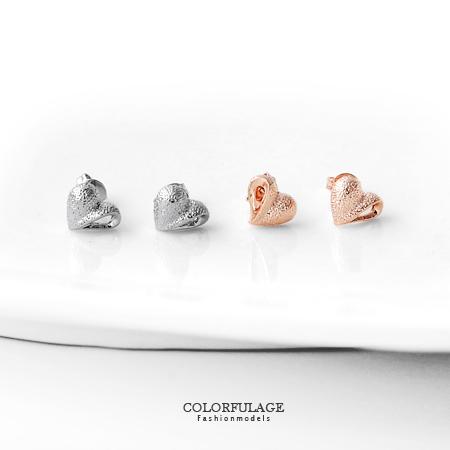 耳環 氣質女孩 立體霧砂愛心鏤空設計耳針耳環 可愛甜美單品 柒彩年代【ND186】一對價格