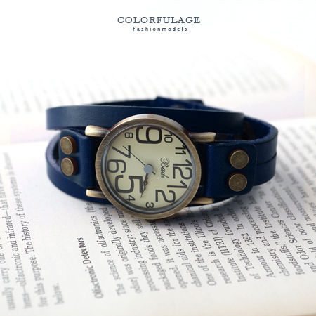 柒彩年代˙真皮多圈數字復古腕錶 韓系英倫造型銅色手錶【NE649】單支價