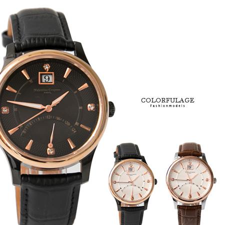 Valentino范倫鐵諾 經典24小時飛返指針功能玫瑰金皮革手錶腕錶 藍寶石水晶 柒彩年代【NE1393】單支