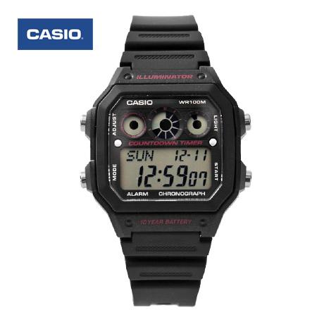 CASIO卡西歐 環保風格 十年電力全黑紅電子錶盤手錶 100M防水 柒彩年代【NE1440】原廠公司貨