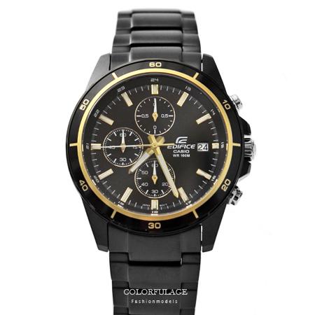 CASIO卡西歐EDIFICE系列 黑金三眼賽車腕錶不鏽鋼腕錶 防水100米手錶 柒彩年代【NE1451】原廠公司貨