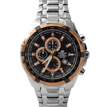 CASIO卡西歐EDIFICE系列 玫瑰金三眼賽車主義不鏽鋼腕錶 防水100米手錶 柒彩年代【NE1458】原廠公司貨