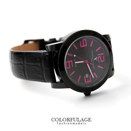 Valentino范倫鐵諾 格紋設計美學數字皮革手錶腕錶 藍寶石鏡面 柒彩年代【NE1131】原廠公司貨