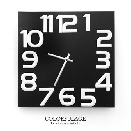 時鐘 簡約時尚立體大數字方型實木指針掛鐘.時鐘 生活品味 柒彩年代【NE1223】創意家飾