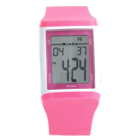 手錶 JAGA 捷卡都會時尚風多功能電子錶 運動女孩粉白色系腕錶 柒彩年代【NE1178】原廠公司貨