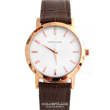 Valentino范倫鐵諾 獨特立體錶盤設計玫瑰金皮革手錶腕錶 藍寶石水晶 柒彩年代【NE1203】單支