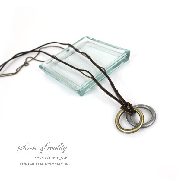 柒彩年代【NB328】多層雙鍊金屬加麻繩長項鍊~雙環設計古銅上色~中性韓系風格