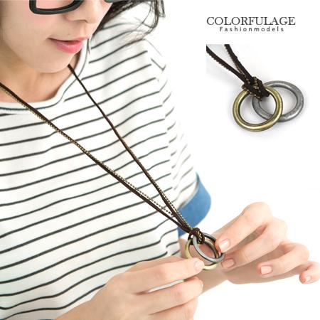 多層雙鍊金屬加麻繩長項鍊 雙環設計古銅上色 中性韓系風格 柒彩年代【NB328】