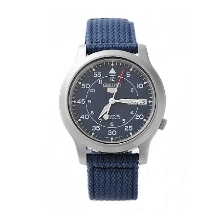 經典帆布SEIKO精工五號 品味都會藍色 自動上鍊機械錶 裱背鏤空 柒彩年代【NE989】附贈禮盒+提袋