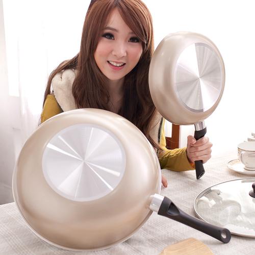 【福利品】保麗晶 陶瓷不沾鍋黃金聚財雙鍋組(BFB00002)