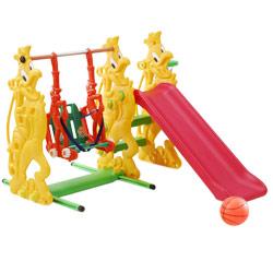【寶貝樂】俏公雞複合式兒童育樂組溜滑梯+鞦韆(附球框.籃球)~台灣生產【SL-15】(BTSL15)