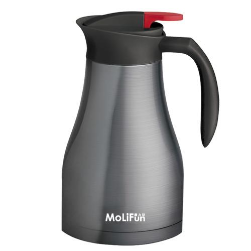 MoliFun魔力坊 不鏽鋼雙層真空附可拆濾網保溫壺1200ml-尊爵灰(MF0275H)