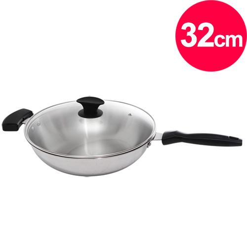 清水 鋼鋼好原味炒鍋玻璃蓋32cm(單把)(MF0319A)